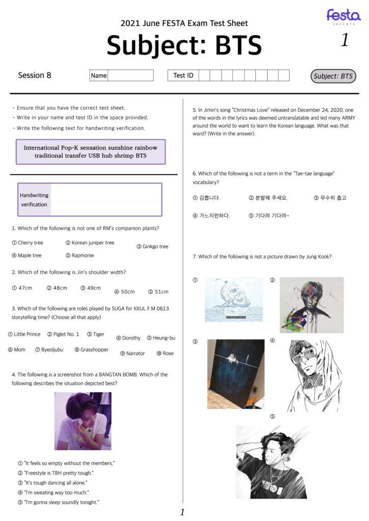 BTS Festa Exam Question page 1